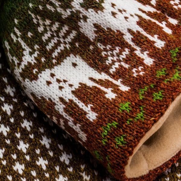 Reindeer Unisex Winter Pure Merino Wool Scarf & Hat Combo