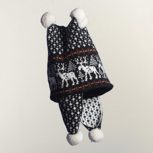 Deer 4 Pompons Unisex Pure Merino Wool Earflap Hat