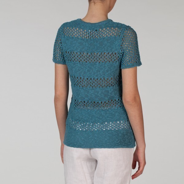 Ramona linen pullover with short sleeves turquoise