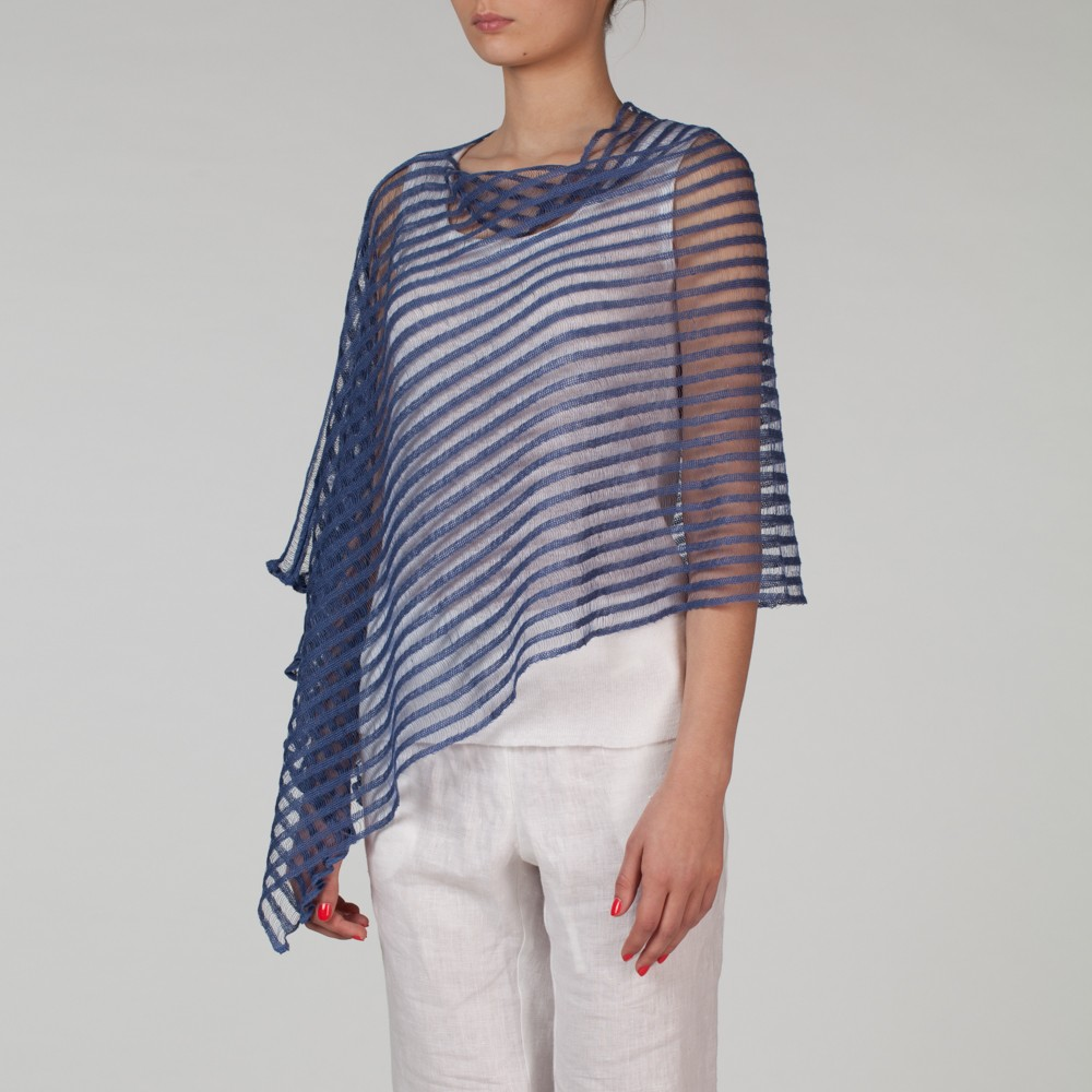 Nensi light Pure Linen Poncho blue