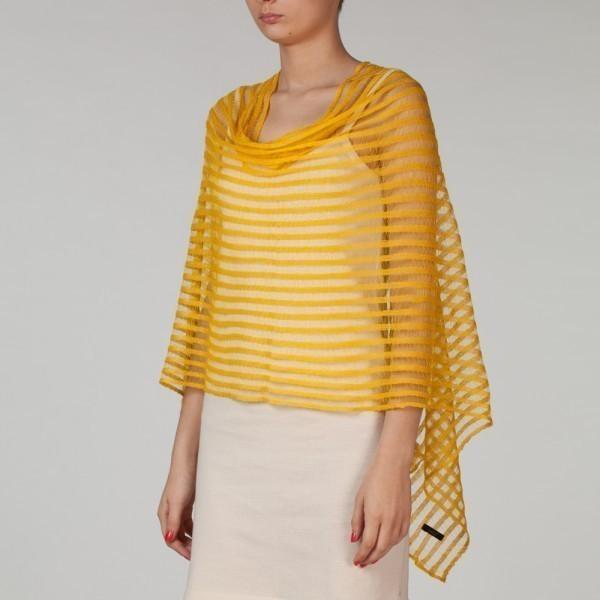 Nensi yellow Pure Linen Poncho