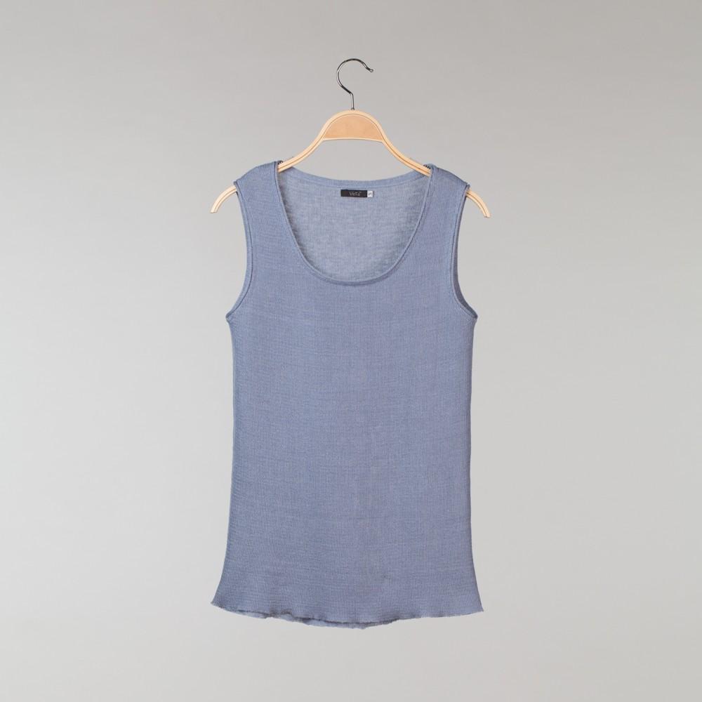 Linen o neck top no sleeve