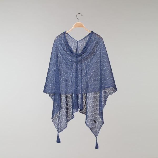 Haapsalu Pure Linen Blue Poncho