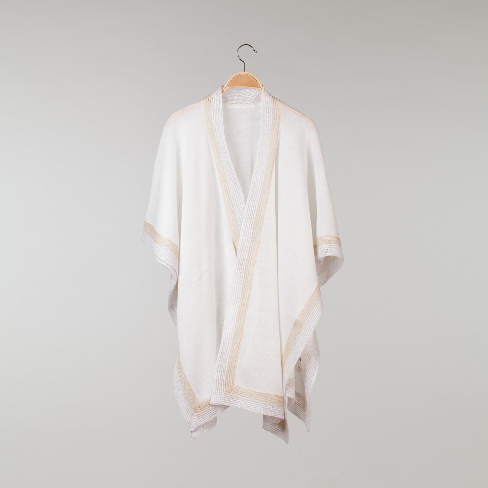 Anna Pure Linen Poncho white-natural gray
