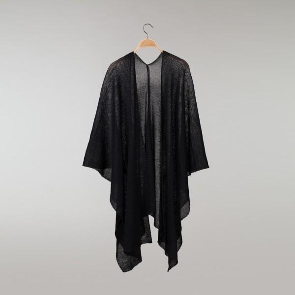 Reginella thick Pure Linen Poncho black