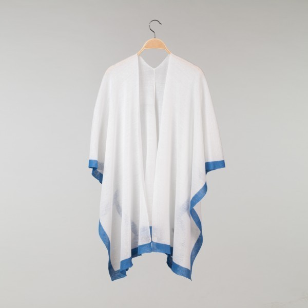 Brita Pure Linen Poncho white-light blue