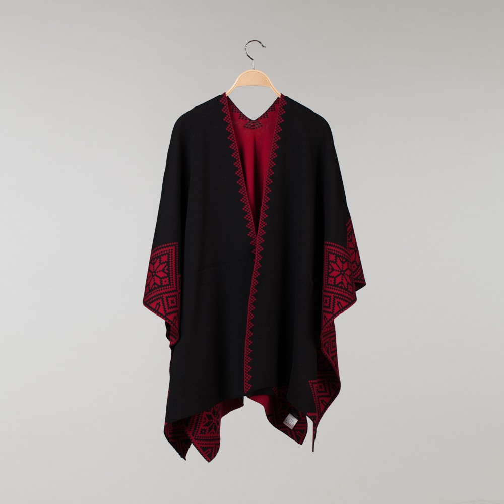 Nordstar Pure Merino Wool Poncho black-red