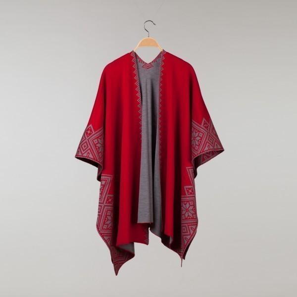 Nordstar Pure Merino Wool Poncho red-gray