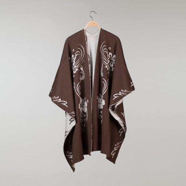 Hawaii Pure Merino Wool Poncho brown-beige