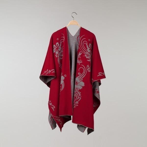Hawaii Pure Merino Wool Poncho cherry-light gray