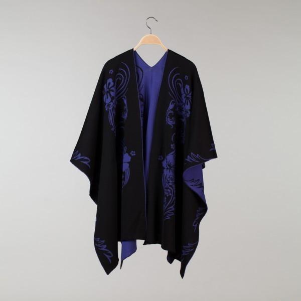Hawaii Pure Merino Wool Black / Violet Poncho