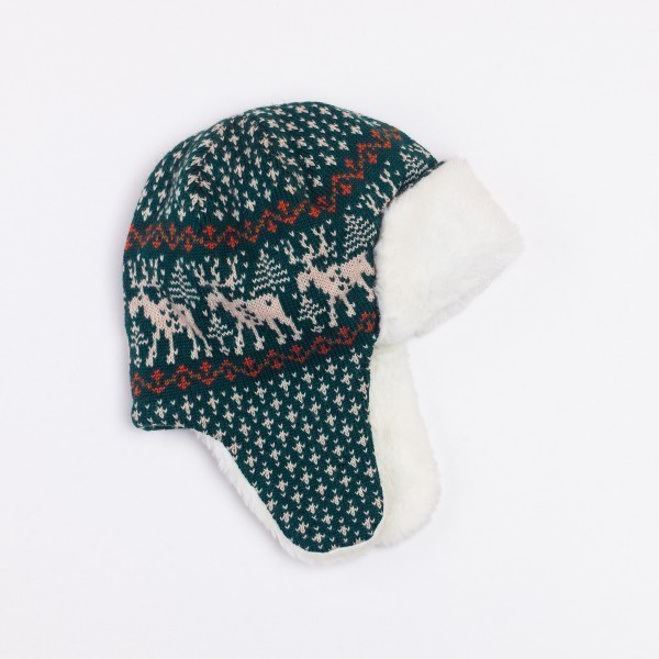 Deer Unisex Winter Pure Merino Wool Bomber Hat