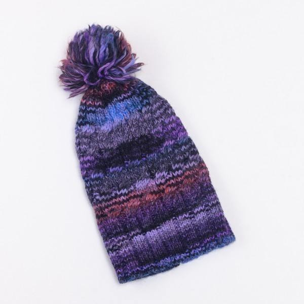 Tresse Unisex Winter Merino Wool Blend Bobble Hat