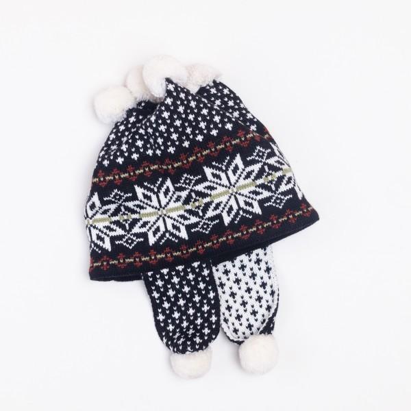 Bonne 4 Pompons Unisex Pure Merino Wool Earflap Hat