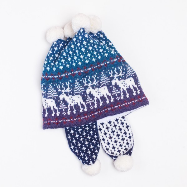 Deer 4 Pompons Unisex Winter Pure Merino Wool Knit Earflap Hat