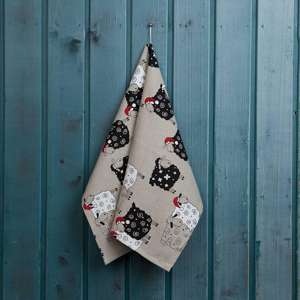Christmas Sheeps Print Kitchen Towel