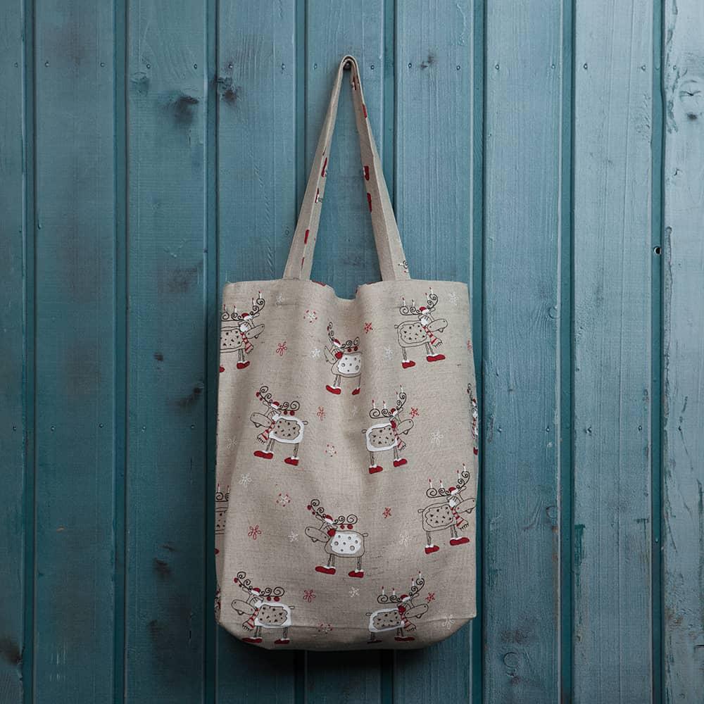 Suve Christmas Deers Print Shopping Bag