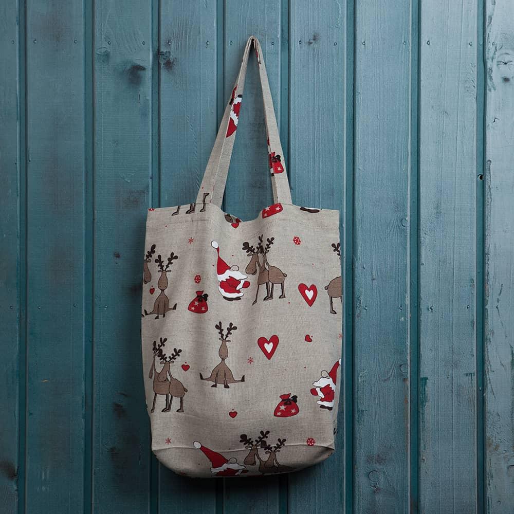 Suve Santa & Deers Print Shopping Bag