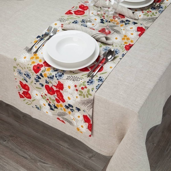 Chamomiles Print Table Runner natural gray
