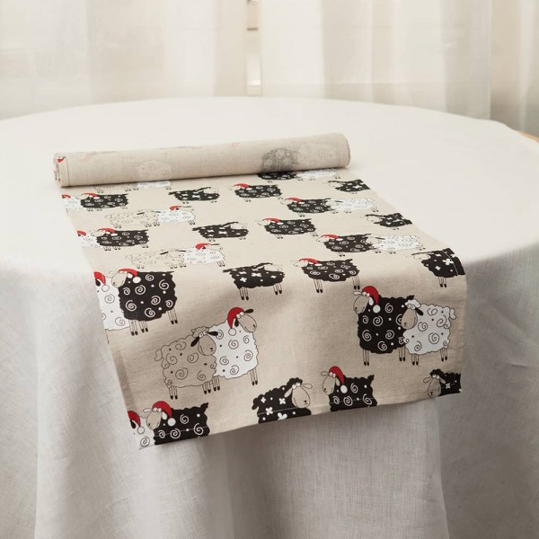 Christmas Sheeps Print Table Runner