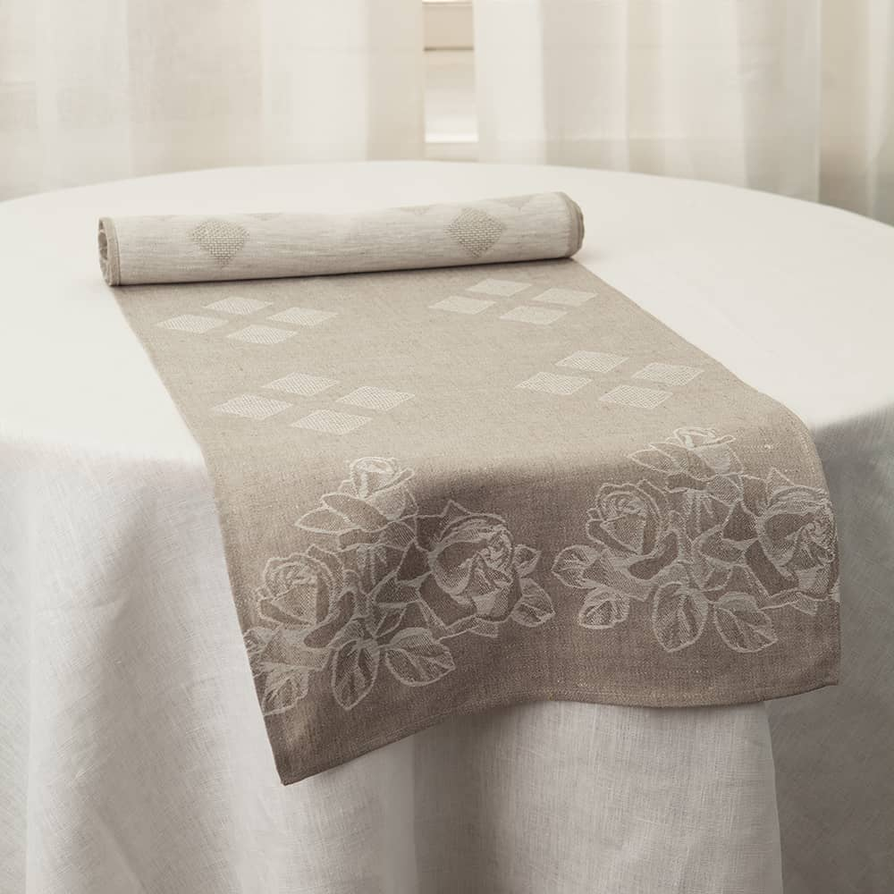 Embroidered Roses Linen Table Runner