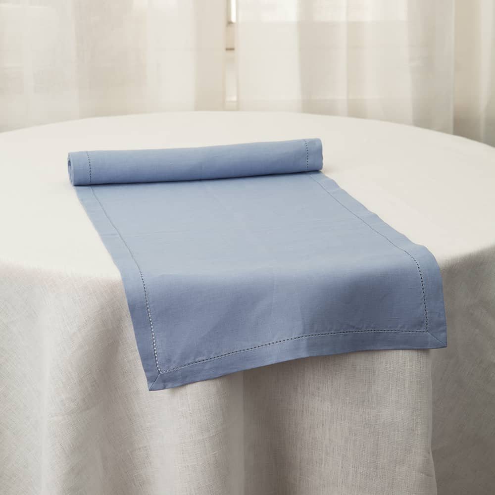 Broderi Linen Table Runner light blue