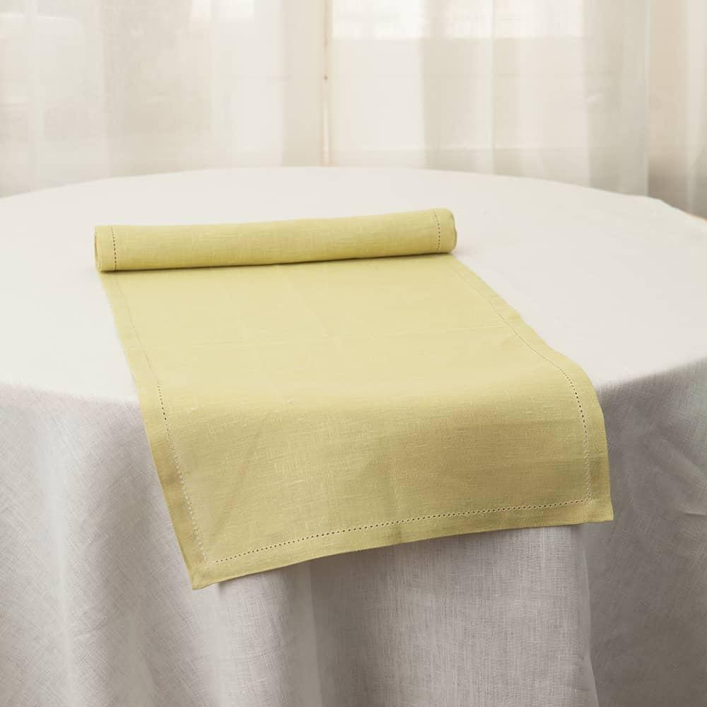 Broderi Linen Table Runner light green