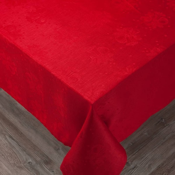 Red Embroidered Bells Linen Tablecloth