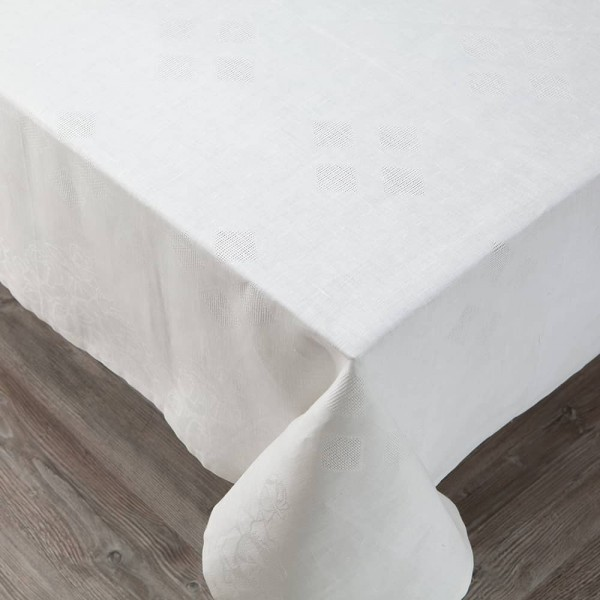 Embroidered Roses Linen Tablecloth white