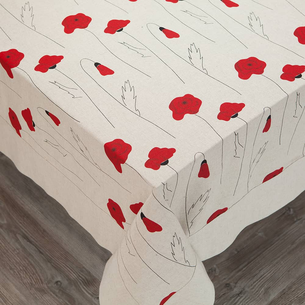 Poppies Print Center Natural Gray Edge Tablecloth