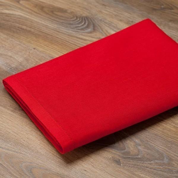 Льняная красная скатерть бродери