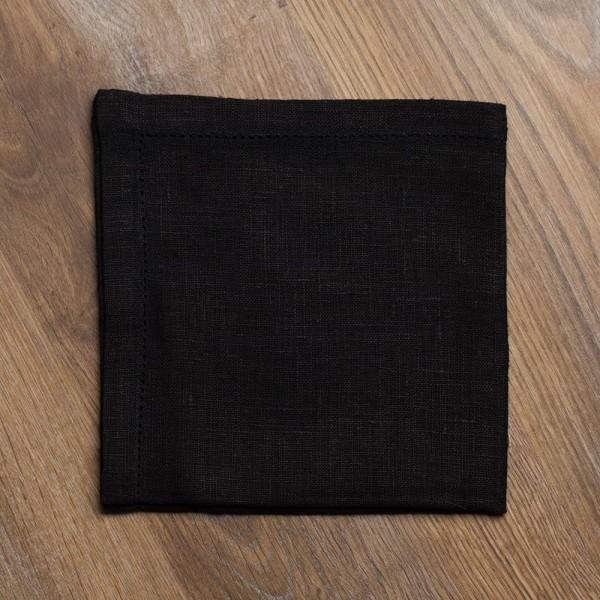 Broderi Drawnwork Linen Napkin Black