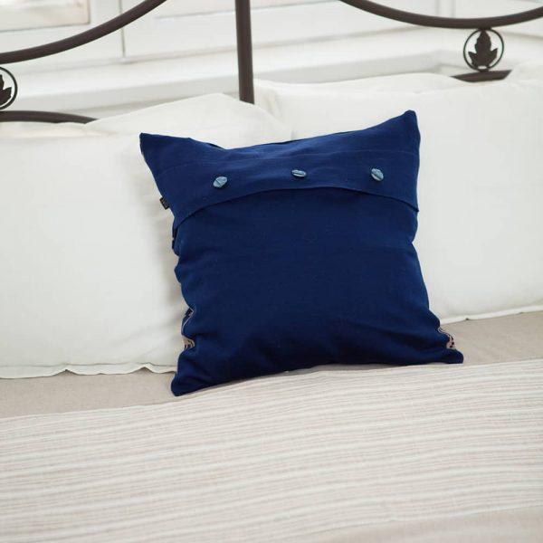 Merinovillast põdramustriga kootud padjakate sinine-beez