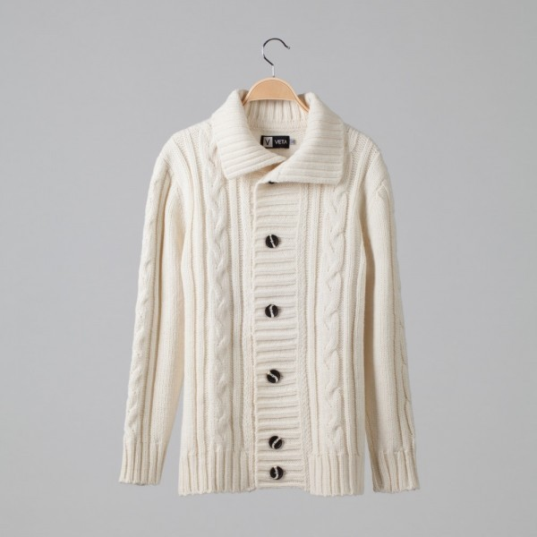 Rik Wool Blend Cable Cardigan