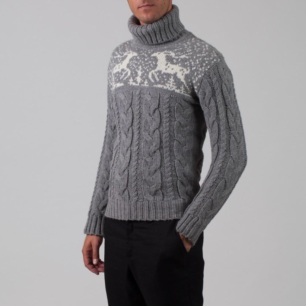 Silvester шерстяной джемпер с высоким горлом с отворотом серого цвета