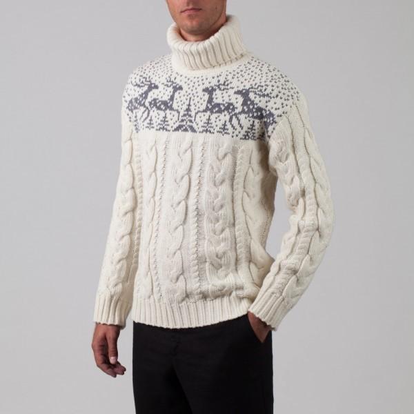 Silvester palmikkoes valge villane sviiter hirve mustriga