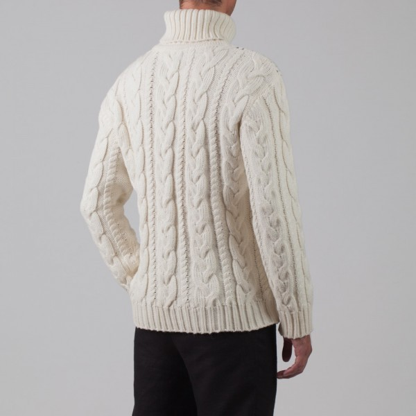 Silvester Wool Blend Cable Polo Neck wtite Jumper