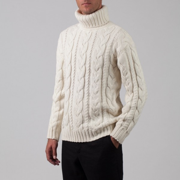 Bruce Wool Blend Cable Polo Neck Jumper