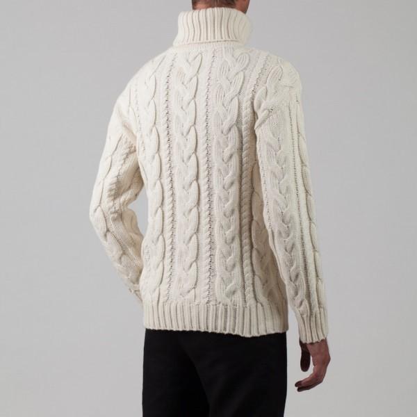 Bruce wool blend white hight-neck sweater