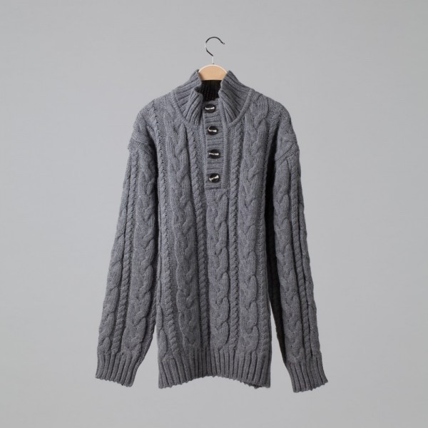 Brian Wool Blend Cable Button Neck Jumper