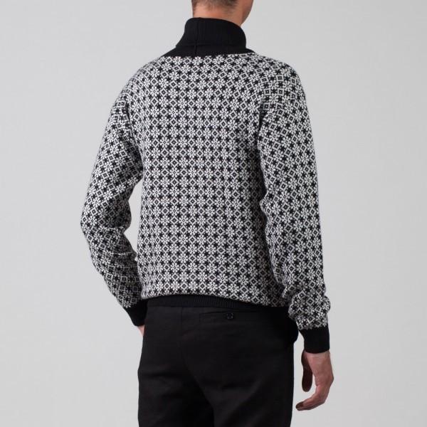 Etno шерстяной джемпер с воротником-шалью черного цвета