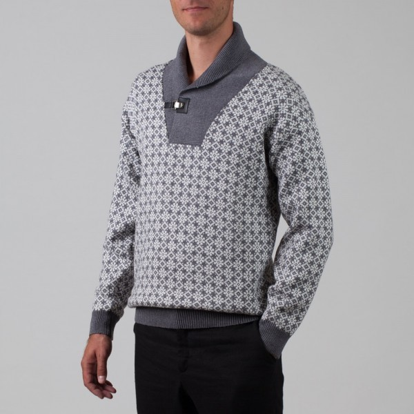 Etno Pure Wool Shawl Collared Jumper