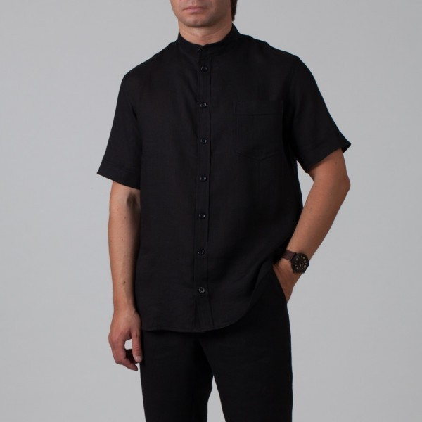 Sergio Linen Short Sleeve Relaxed Fit Casual Shirt black