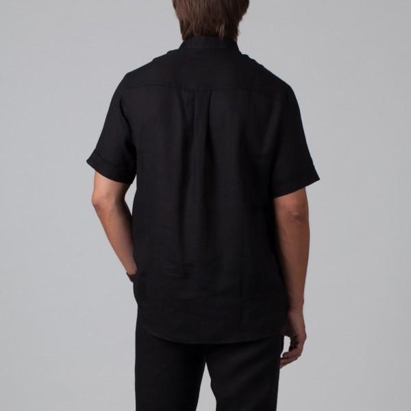 Sergio рубашка из льна с короткими рукавами черного цвета