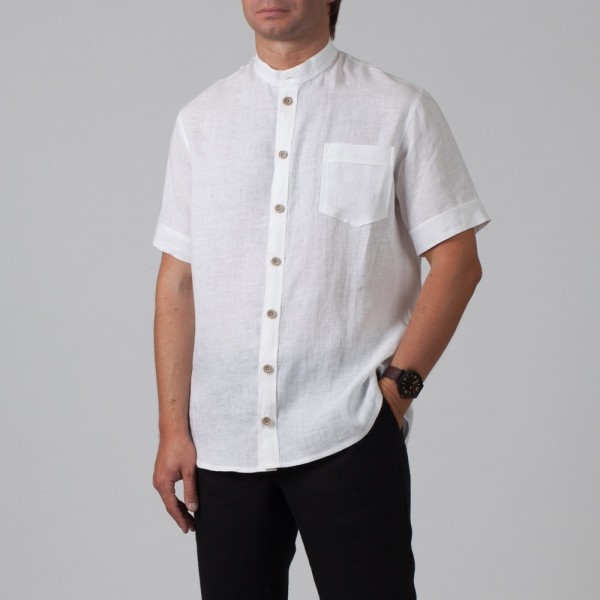 Sergio Linen Short Sleeve Relaxed Fit Casual Shirt
