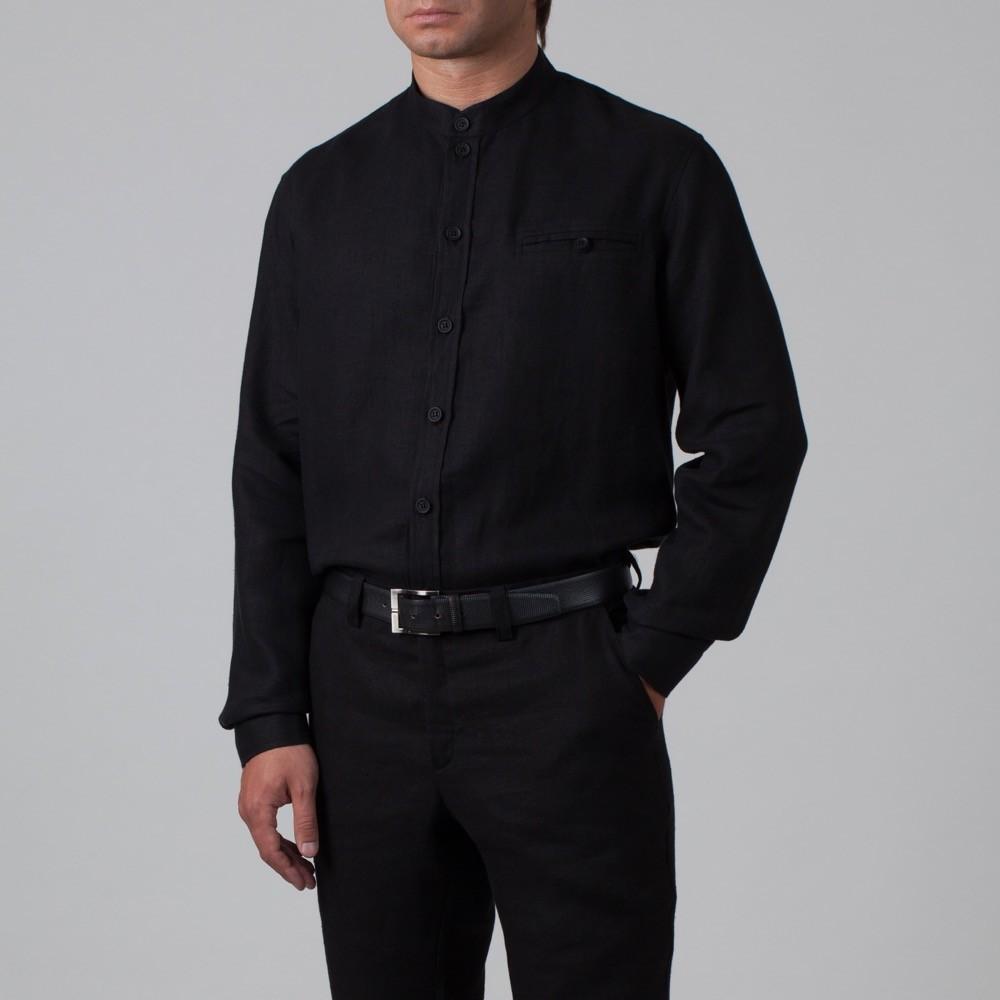 Sorento рубашка из льна свободного кроя черного цвета