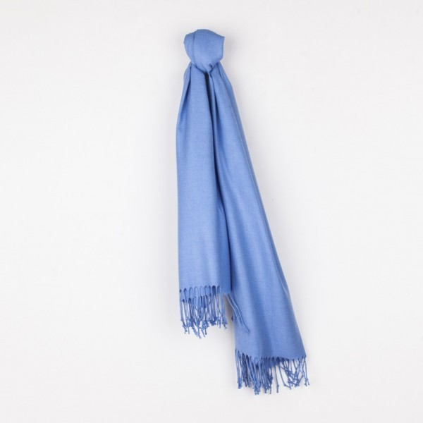Light blue pashmina shawl and mask set (blue jeans)