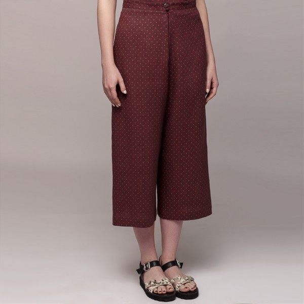 Wide linen pants with dots print