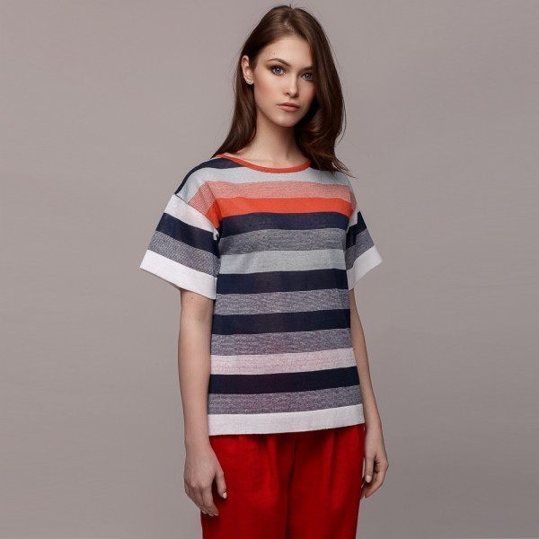O neck short sleeve linen pullover