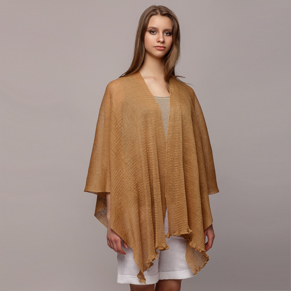 Firenze Light Pure Linen Poncho senape